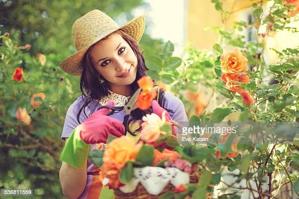 Beautiful woman gardening