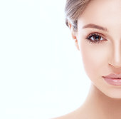 Healthy skin woman face looking camera