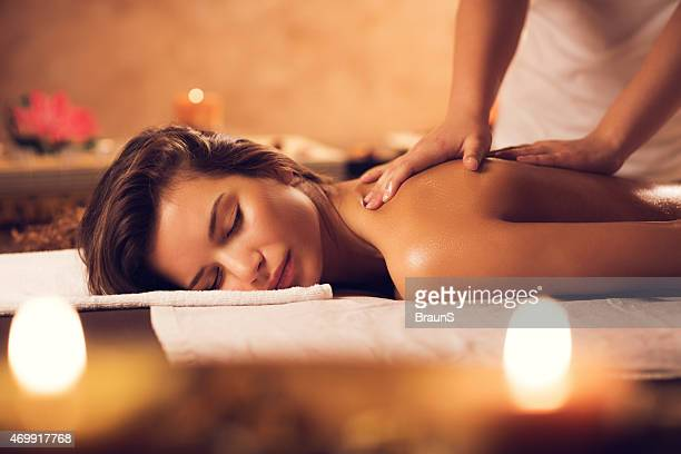Beautiful woman having a massage at the spa.