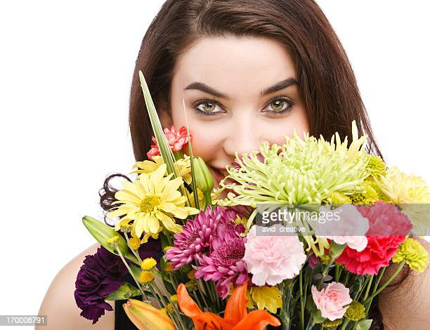 Beautiful Woman Hiding Behind Flowers
