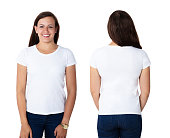 Front And Rear View Of A Happy Woman In Blank White T-shirt