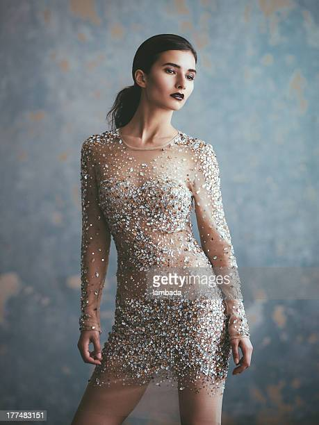 Beautiful woman in fashionable dress