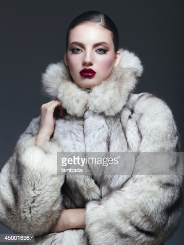 Beautiful Woman In Fur Coat Stock Photo | Getty Images