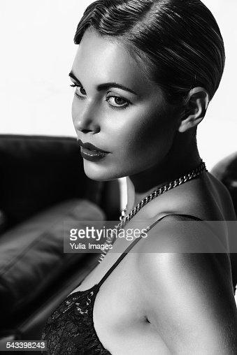 Beautiful woman in monochrome
