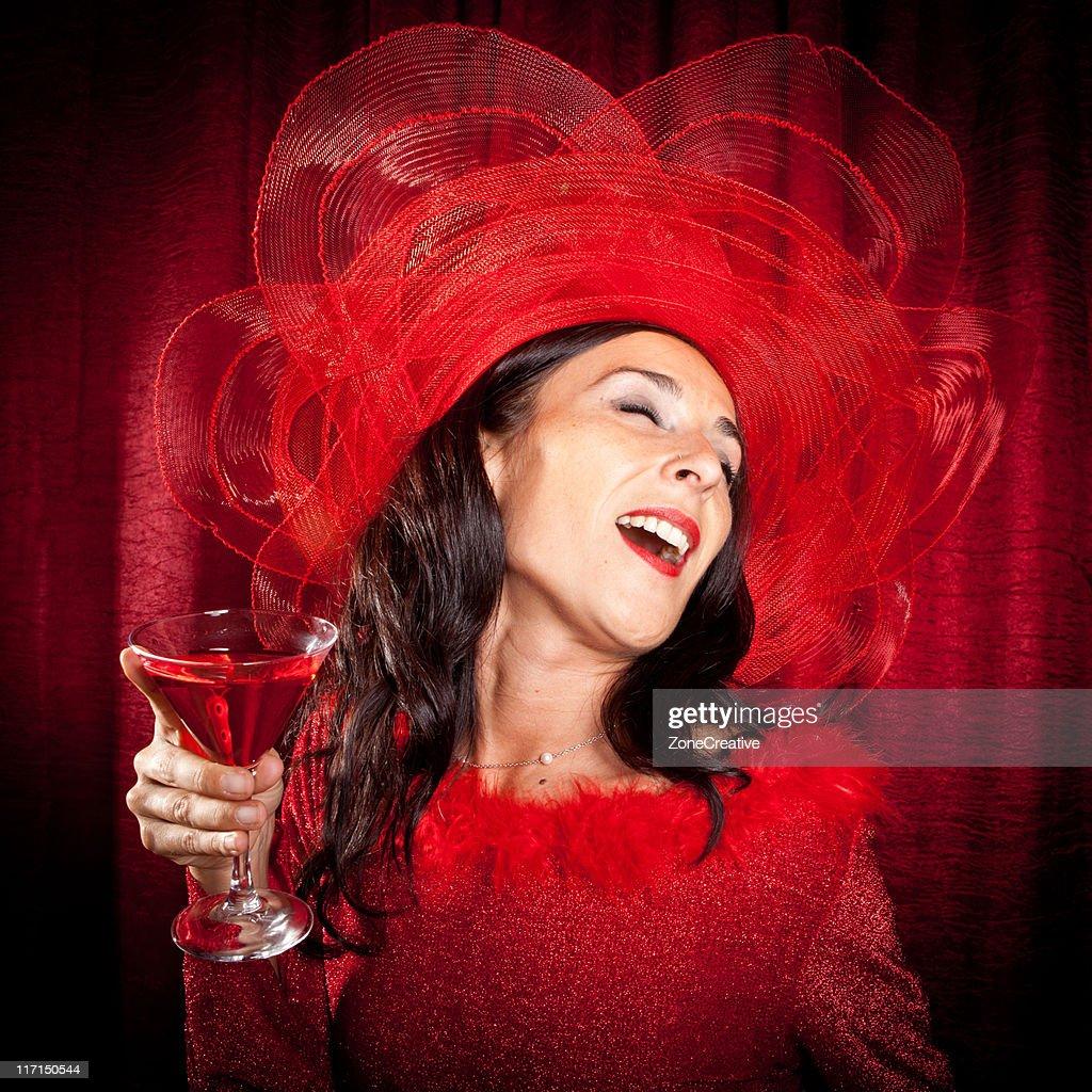 Beautiful woman in red : Stock Photo