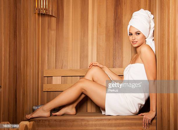 Beautiful woman in Sauna
