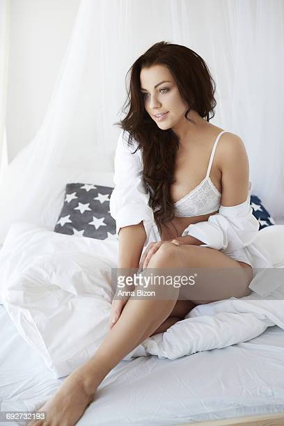 Beautiful woman in the bed. Debica, Poland