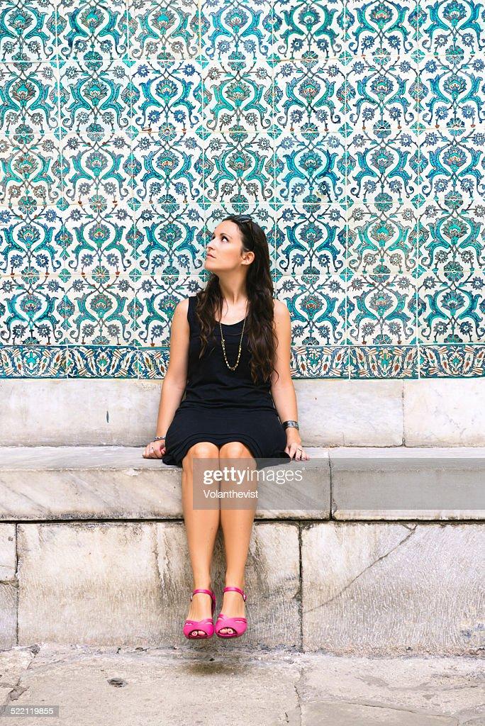 Beautiful woman in Topkapi Palace, Istanbul