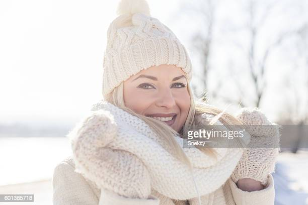 Beautiful woman in winter clothing