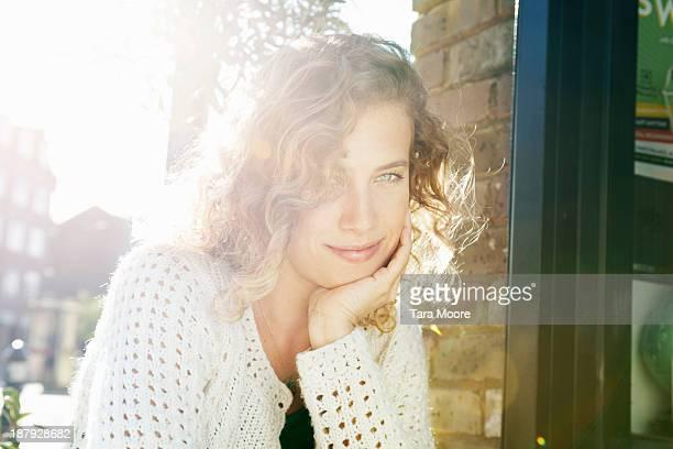 beautiful woman looking to camera