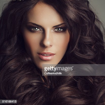 beautiful woman on dark background