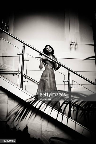 Beautiful woman on stairs