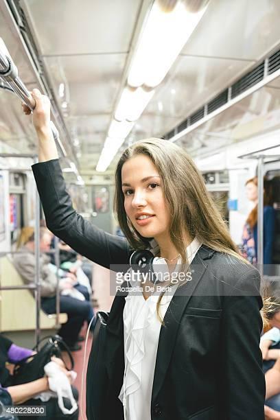 Beautiful Woman On Subway Train