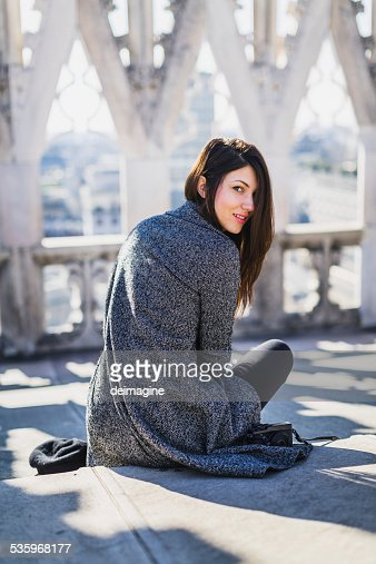 Beautiful woman on the roofs of Milan Duomo : Stock Photo