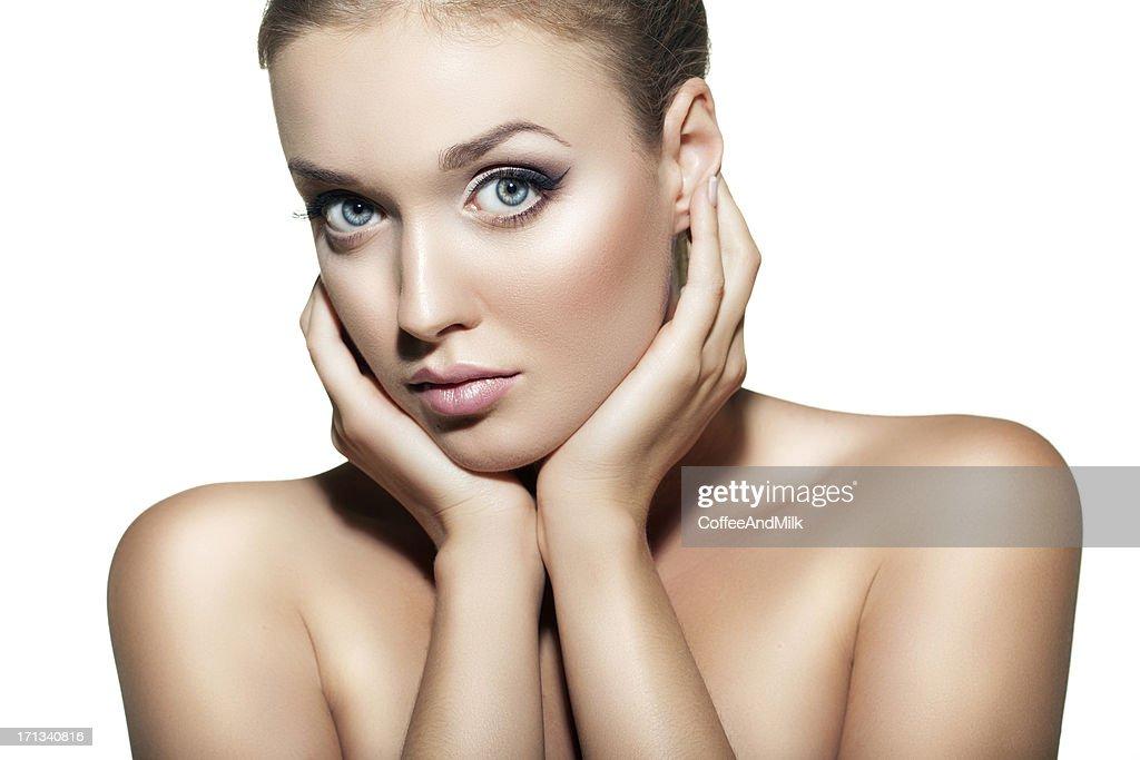 Beautiful woman on white background : Stock Photo