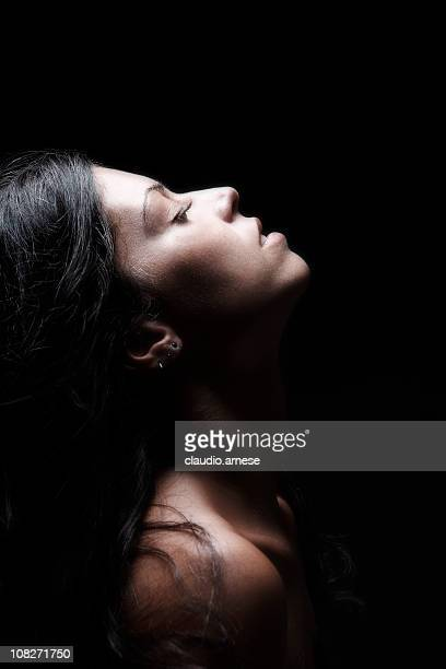 Beautiful Woman Portrait, Black Background