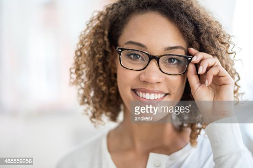 Beautiful woman portrait wearing glasses