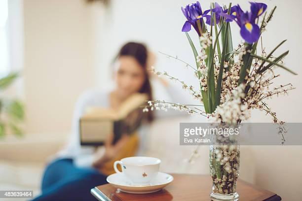 美しい女性の自宅で読書