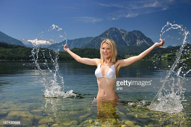 Beautiful woman refreshing infront a breathtaking panorama (XXXL)