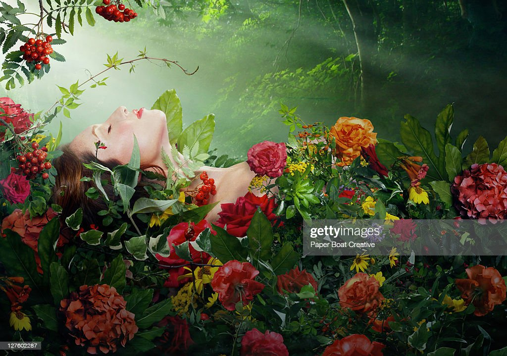 beautiful woman resting on a bed of red roses : Stock Photo