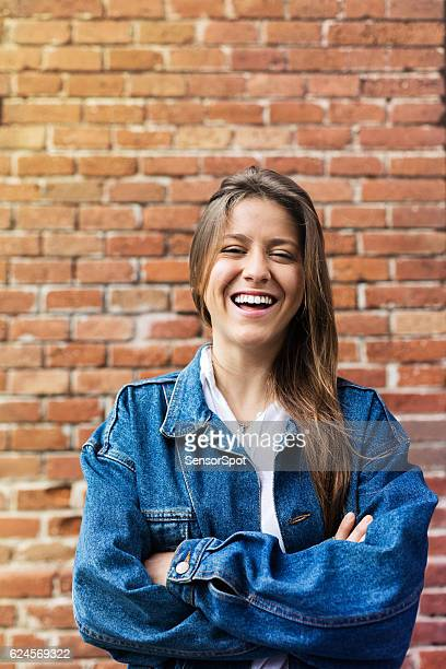 Beautiful woman smiling in the street