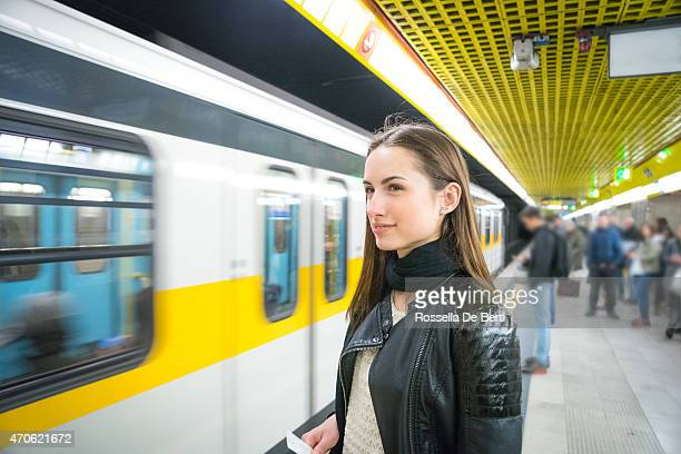 Beautiful Woman Waiting For The Subway Train