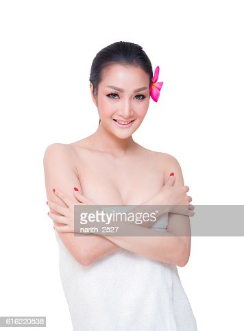 beautiful woman wear towel, isolated on white background : Stock-Foto