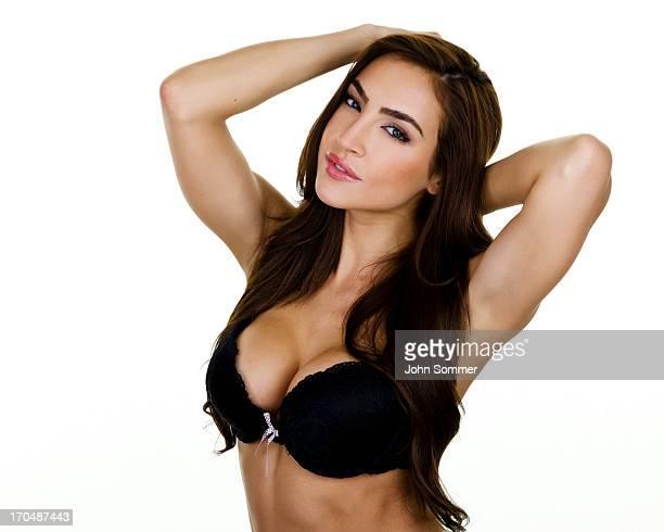 Beautiful woman wearing a bra