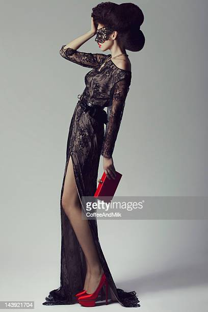 Beautiful woman wearing clothes from couture