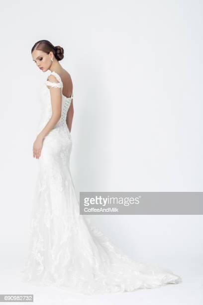 Beautiful woman wearing wedding dress
