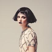 Beautiful woman  with bob haircut