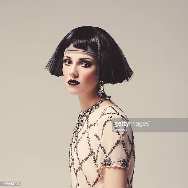 Beautiful woman with bob haircut