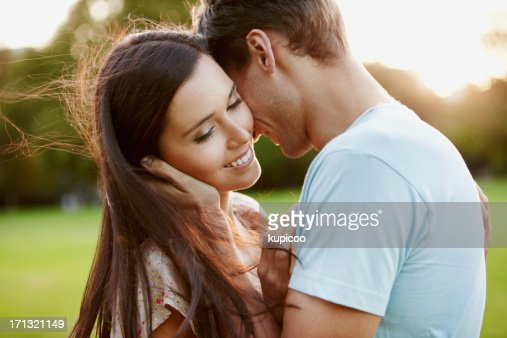 Beautiful woman with boyfriend in park