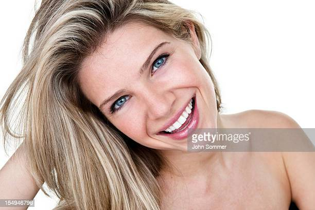 Beautiful woman with cheerful expression