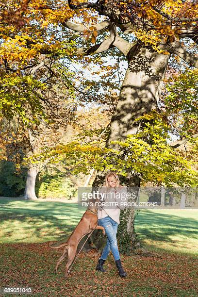 beautiful woman with dog in front of a old tree
