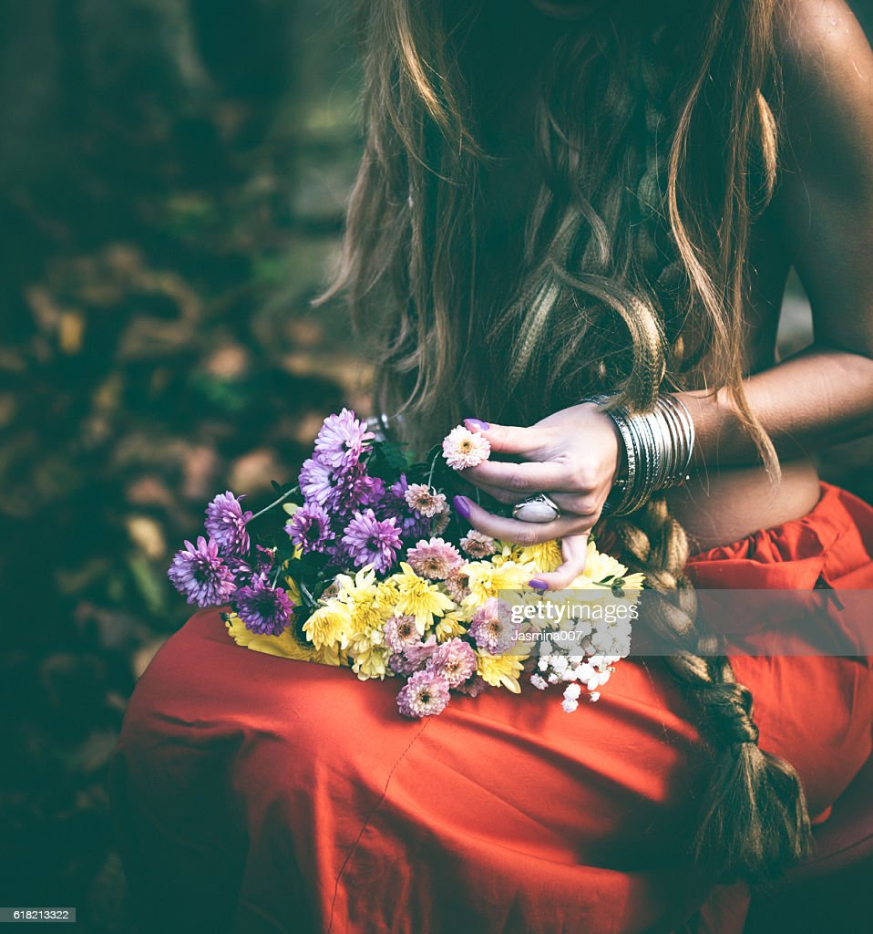Beautiful woman with flowers stock photo getty images beautiful woman with flowers stock photo dhlflorist Gallery