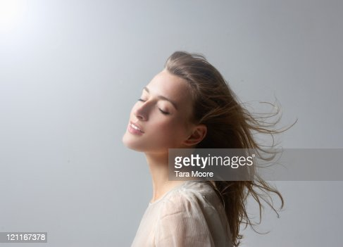 beautiful woman with hair blowing