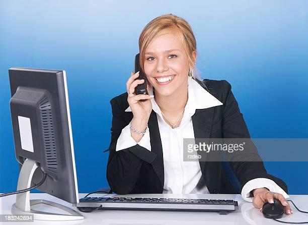 美しい女性、電話