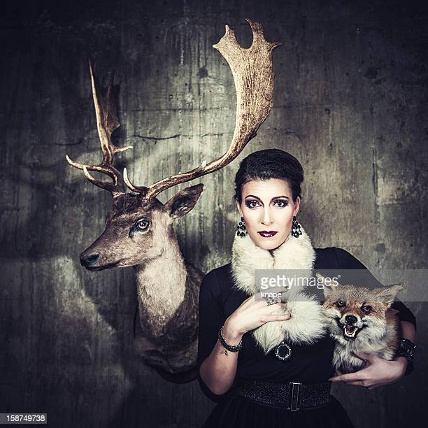 Beautiful woman with stuffed animals