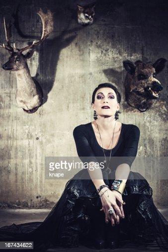 Beautiful woman with stuffed animals : Stock Photo