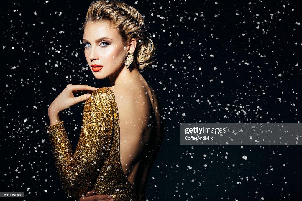 Beautiful woman with stylish hairstyle : Stock Photo