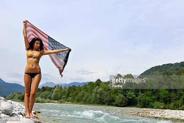 Beautiful Woman with Us Flag Soca River Slovenia