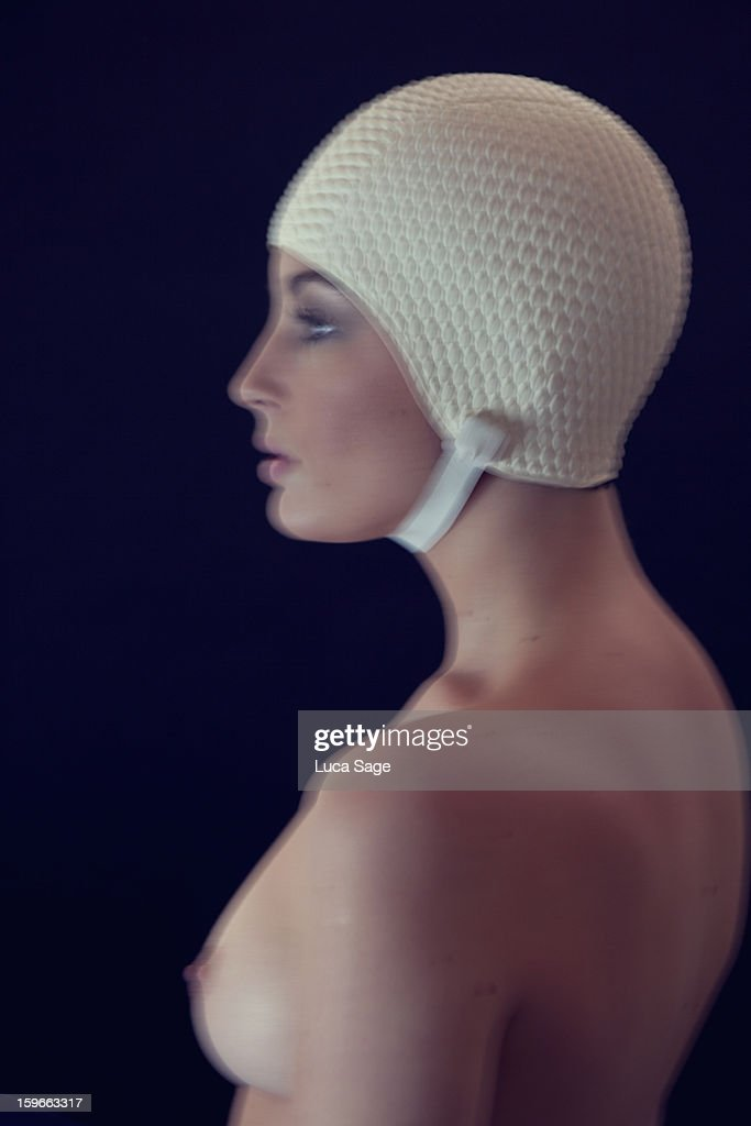 Beautiful Woman with vintage swimming cap : Stock Photo