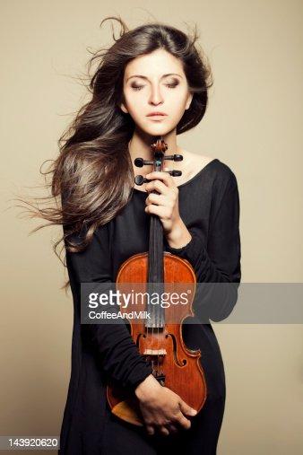 Beautiful woman with violin