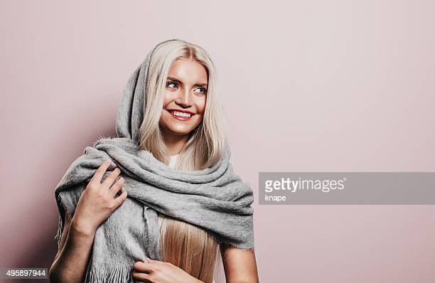Beautiful woman with winter scarf
