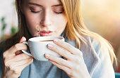 Cafe, Winter, Women, Coffee - Drink, Sunset