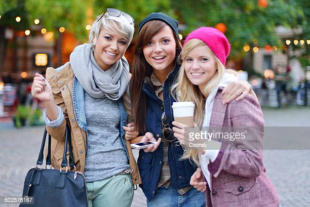Beautiful women together in the city