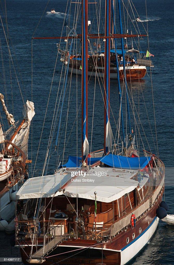 Beautiful yachts at Rinella, Salina, Italy