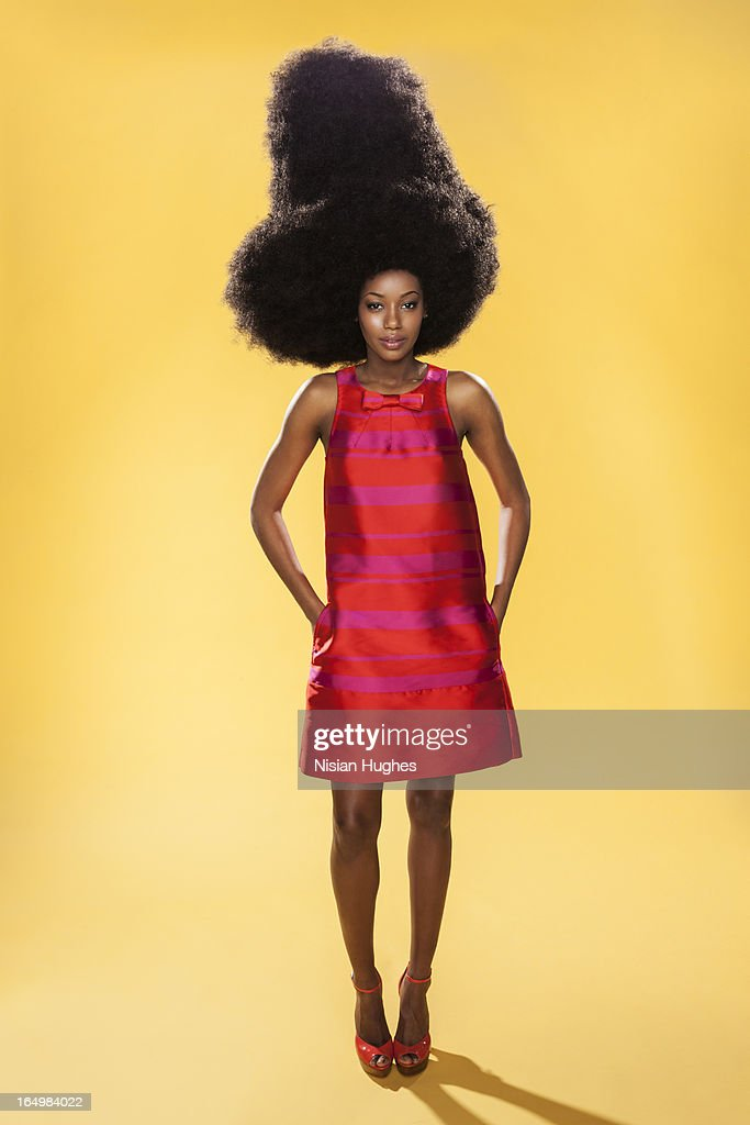 beautiful young black woman with very large afro