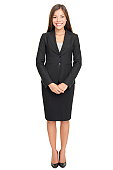 Business woman full body standing isolated on white background with copy space. Click for more: